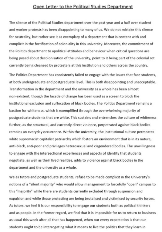 Tutors Letter To The UCT Department Of Political Studies